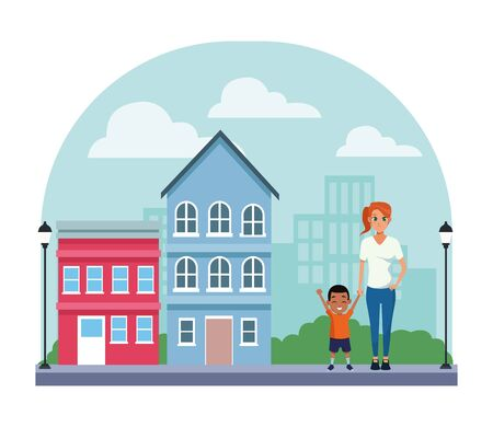 Family single mother with little son cartoon in city neighborhood scenery with houses vector illustration graphic design. Stock Illustratie