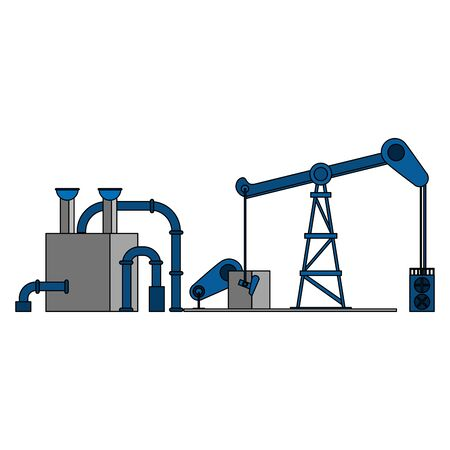 oil refinery gas factory industry petrochemical petroleum plant pipeline and destillation tank with fracking process cartoon vector illustration graphic design