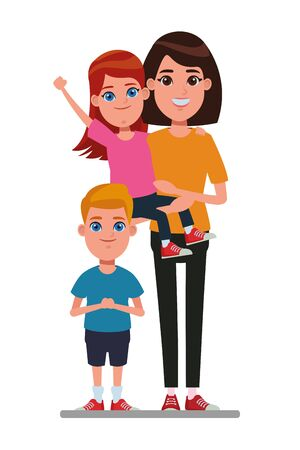 family avatar mother with short hair carrying a young girl next to a child profile picture cartoon character portrait vector illustration graphic design Stock Illustratie