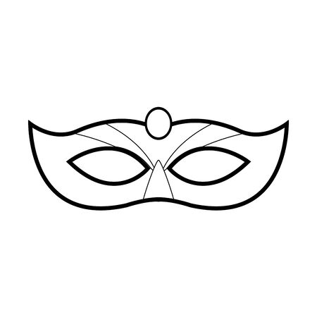 carnival mask icon over white background, black and white design. vector illustration