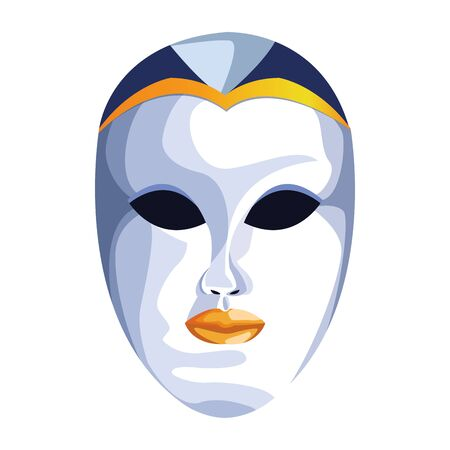 Masquerade face mask icon over white background, colorful design. vector illustration