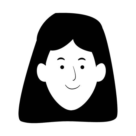 cartoon woman face icon over white background, black and white design. vector illustration