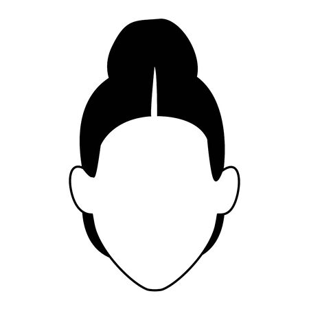 avatar old woman icon over white background, black and white design. vector illustration