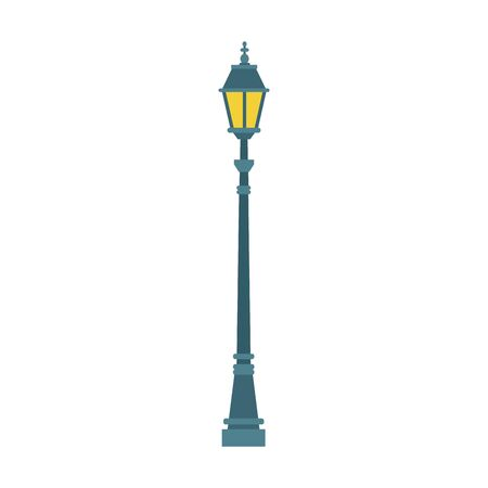 Streetlight vintage lamp icon over white background, colorful design. vector illustration Çizim