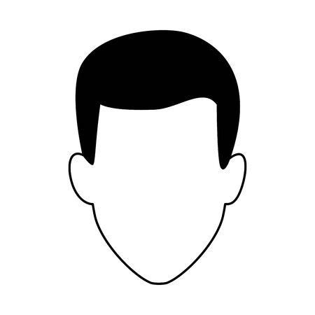 avatar man icon over white background, black and white design. vector illustration