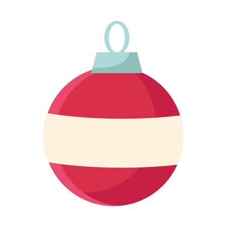 christmas ball ornament icon over white background, colorful flat design, vector illustration