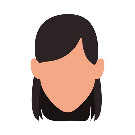 avatar woman face icon over white background, vector illustration