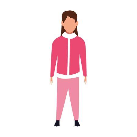 avatar girl with pink jacket over white background, vector illustration Ilustracja