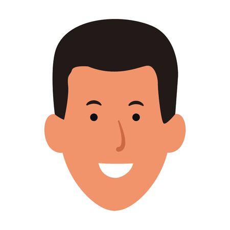 cartoon man face smiling icon over white background, colorful design. vector illustration Ilustração