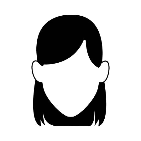 avatar woman face icon over white background, black and white design. vector illustration