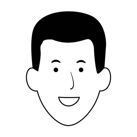 cartoon man face smiling icon over white background, vector illustration Ilustração