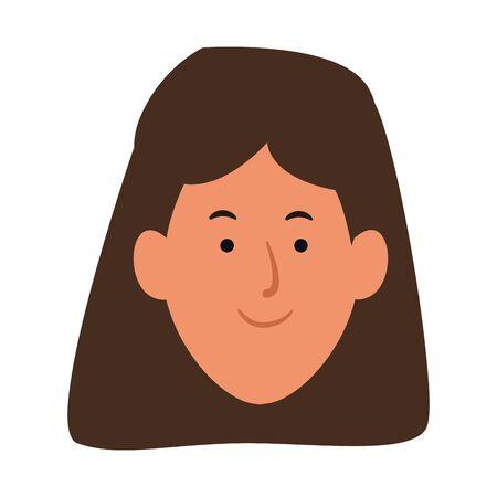 cartoon woman smiling icon over white background, vector illustration Stock Illustratie