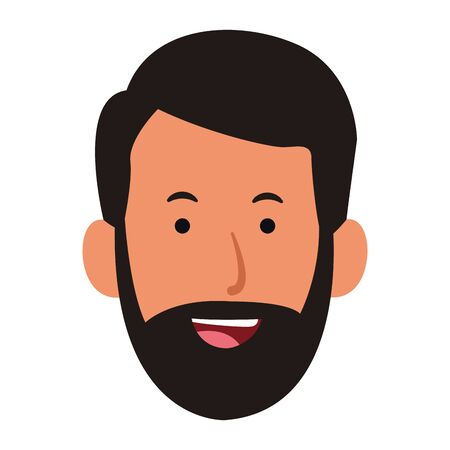 cartoon man with beard icon over white background, colorful design. vector illustration Stock Illustratie