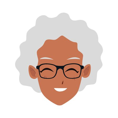 cartoon old woman with glasses over white background, vector illustration Çizim
