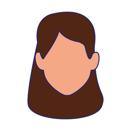 default woman face with long hair over white background, vector illustration