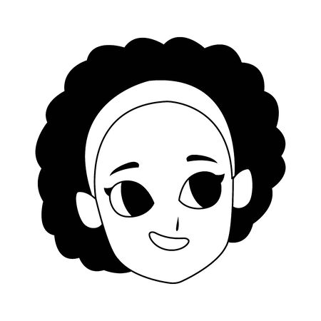 happy girl with curly hair icon over white background, vector illustration