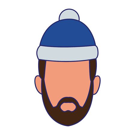 avatar man with christmas hat over white background, colorful design. vector illustration