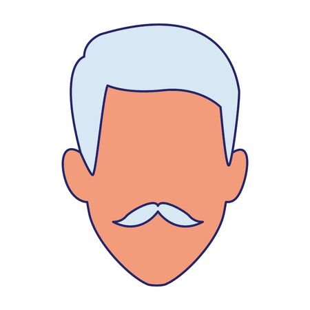 old man with mustache icon over white background, vector illustration