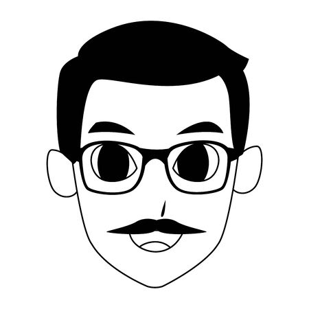old man face with glasses and mustache icon over white background, vector illustration