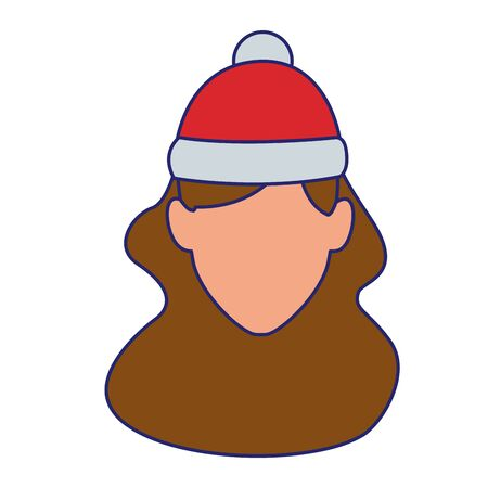 default woman with christmas hat over white background, flat colorful design. vector illustration