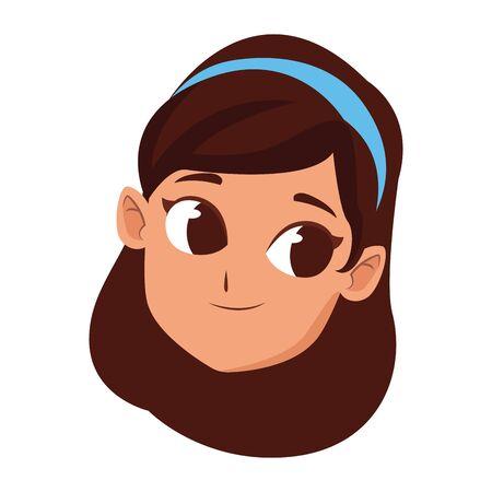 happy girl with hairband icon over white background, vector illustration Ilustracja