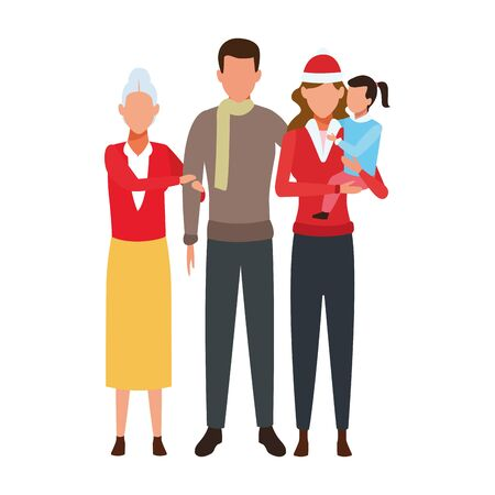 avatar family with kids and grandmother over white background, colorful design. vector illustration