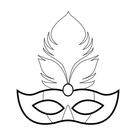 Masquerade mask with feathers over white background, vector illustration