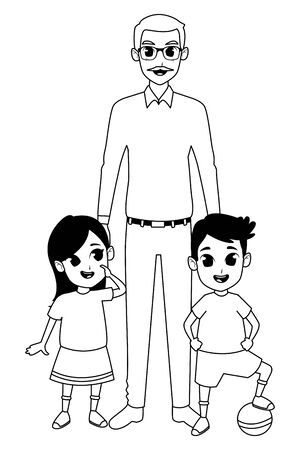 Family grandchildren and grandfather of hand vector illustration graphic design Ilustração