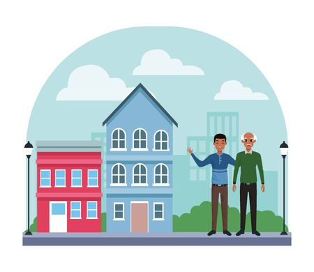 Family single father with adult son cartoon in city neighborhood scenery with houses vector illustration graphic design.