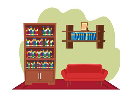 furniture house interior with couch and bookshelf over carpet icon cartoon vector illustration graphic design Banque d'images - 131811494