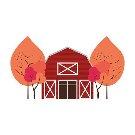 Autumn season cute trees and barn cartoons vector illustration graphic design