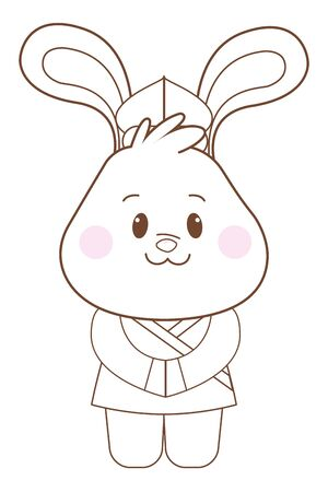 Mid autumn cute rabbit with chinese ethnic clothes cartoon ,vector illustration graphic design.