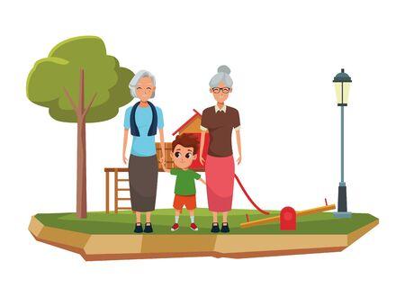 Family grandparents hand of with grandson cartoons with park playground games scenery ,vector illustration graphic design. Ilustração