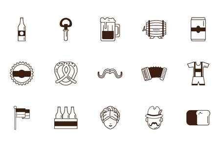 bundle of oktoberfest celebration set icons vector illustration design Ilustração