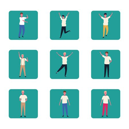 set of people dancing and having fun over blue squares and white background, colorful design. vector illustration