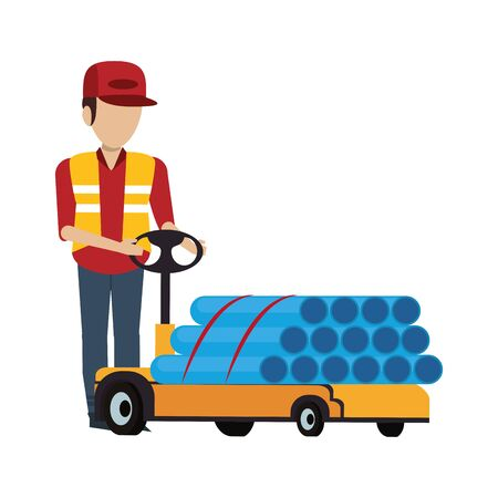 Warehouse worker pushing pvc pipes with handtruck vector illustration