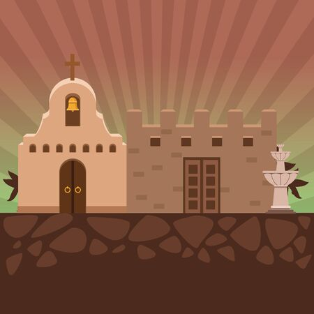 mexican traditional culture traditional mexican church, mexican castle and water fountain icon cartoon over rocks under the ground and palms vector illustration graphic design