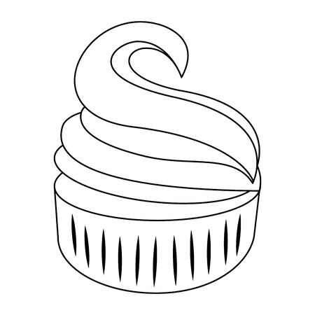 sweet muffin icon over white background, vector illustration