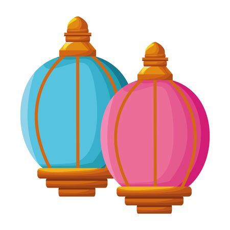 two colorful lantern icon cartoon isolated vector illustration graphic design