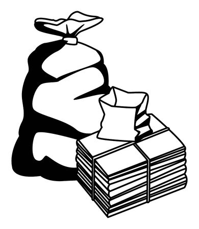 garbage bag, paper pile moored and paper bag icon cartoon in black and white vector illustration graphic design
