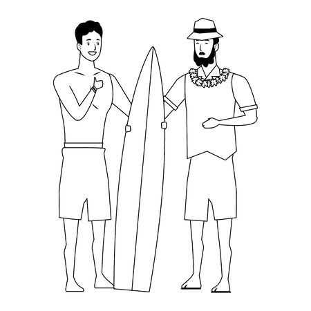 Young men friends enjoying summer with swimsuitwith surf table vector illustration graphic design