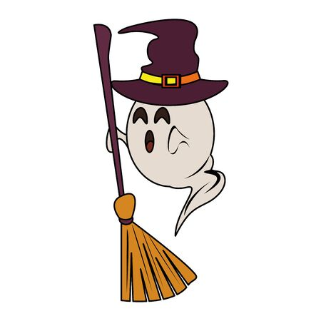 halloween october scary celebration, witch hat with ghost holding broom cartoon vector illustration graphic design