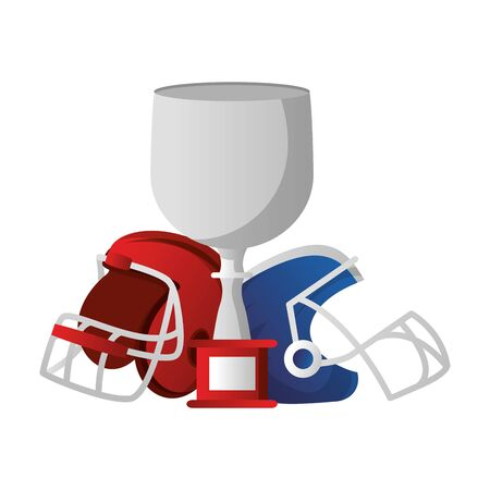 american football sport game champion trophy with helmets cartoon vector illustration graphic design Çizim