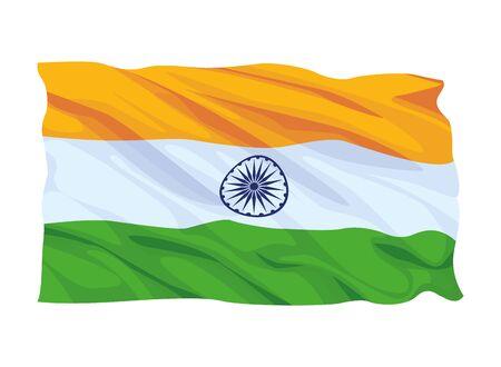 flag of india waving icon cartoon vector illustration graphic design