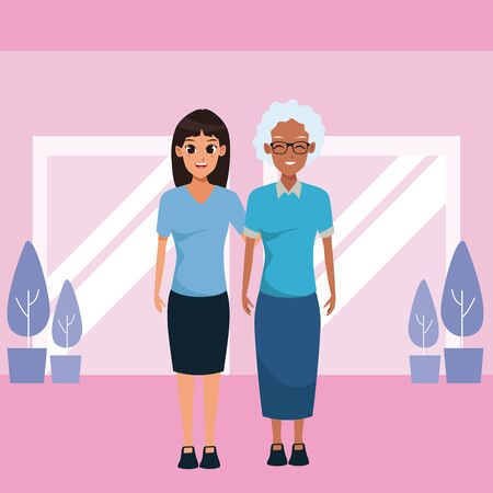 Family mother with adult daugther together cartoon inside mall witn windows and plan pots scenery vector illustration graphic design.