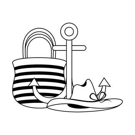 Summer and travel bag and anchor with hat cartoons vector illustration graphic design