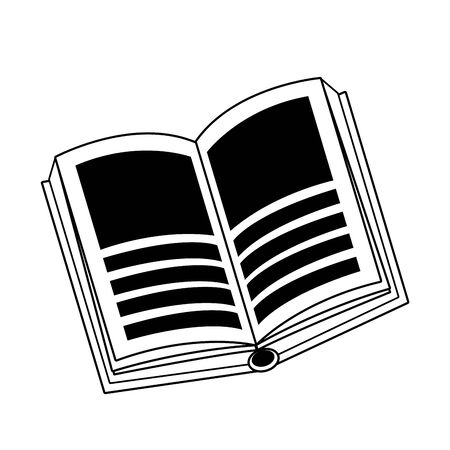 open book top view icon cartoon isolated in black and white vector illustration graphic design