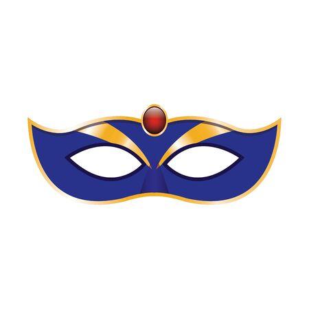 simple Mardi gras mask icon over white background, colorful design. vector illustration