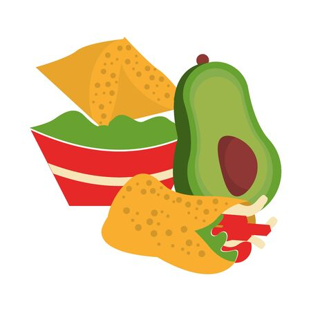 mexico culture and foods cartoons plate with guacamole nachos and avocado also burrito vector illustrationgraphic design