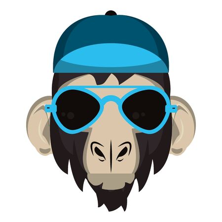 Cool monkey with hat and sunglasses fashion accesories cartoon vector illustration graphic design